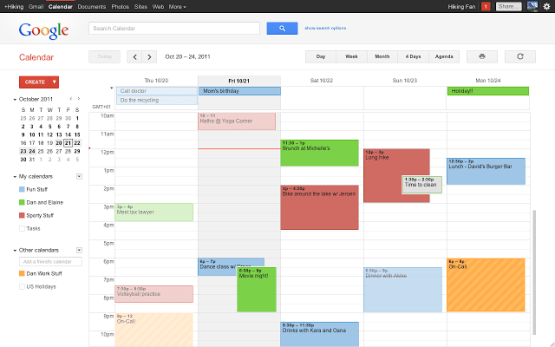 sample Google calendar