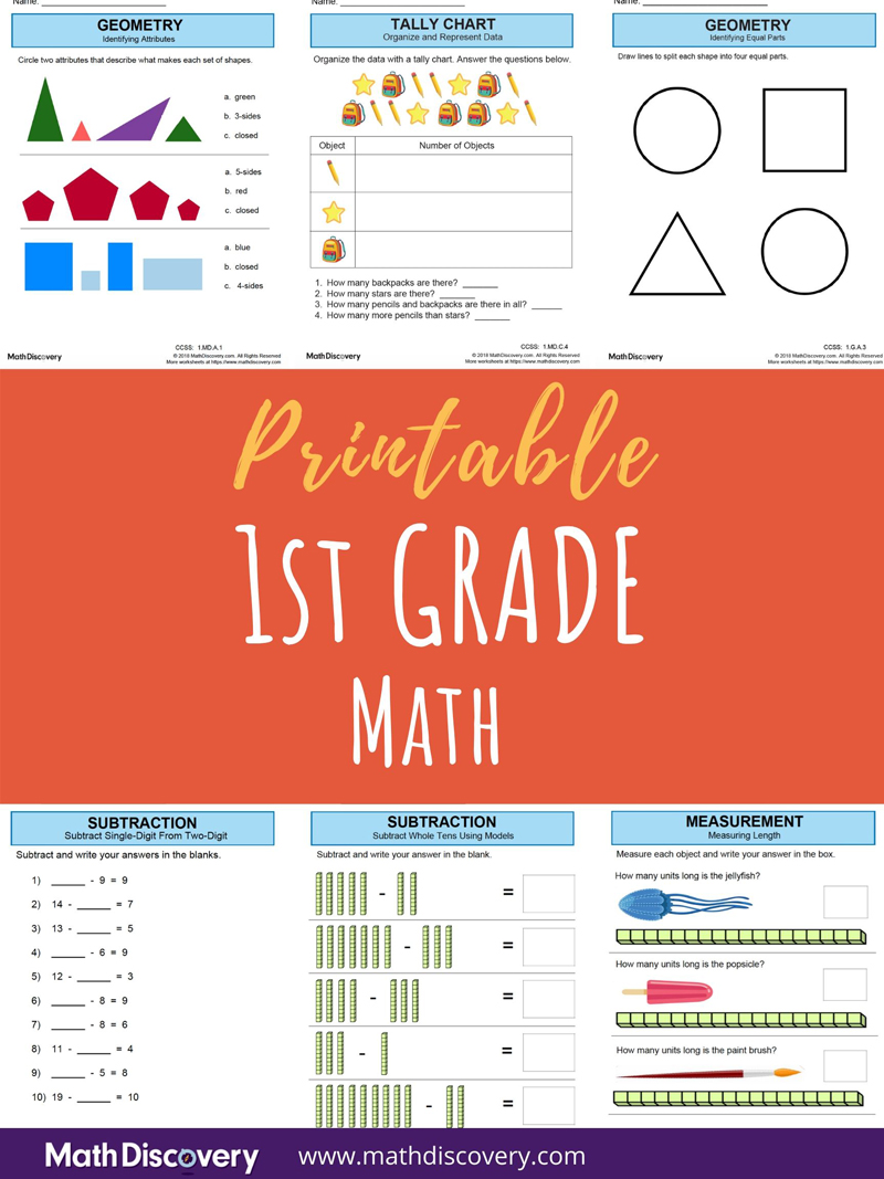 medium resolution of 1st Grade Math Worksheets   Free