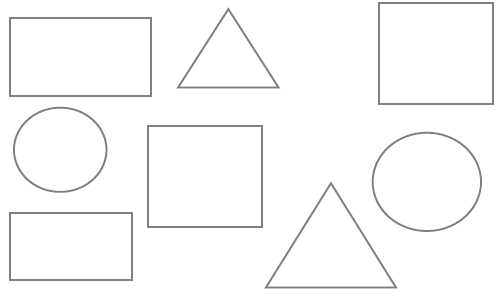 Preschool shapes worksheets: circle, rectangle, triangle