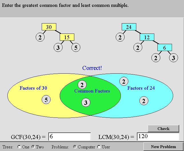 hcf and lcm using venn diagrams boys john green diagram nlvm prime factors mathematics for students once both factor trees are complete the can be dragged to given checked