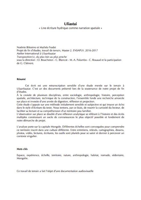 Résumé Uliastai