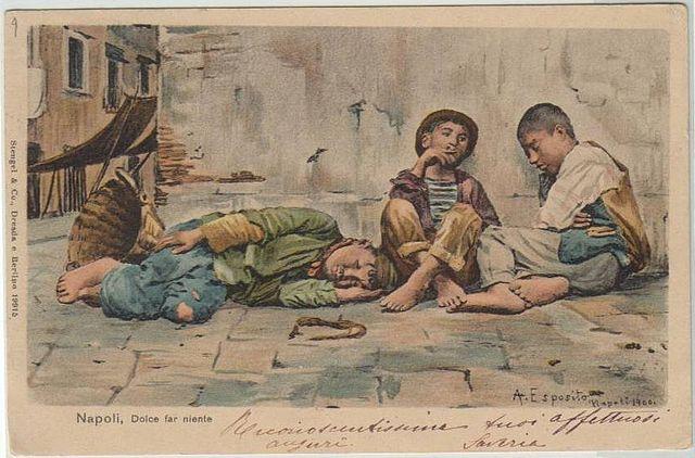 """Foto: Postal italiano do início dos anos 1900 com a frase """"dolce far niente""""."""