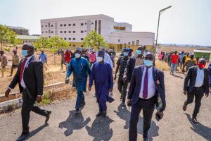 Governor Lalong going round the University to inspect projects