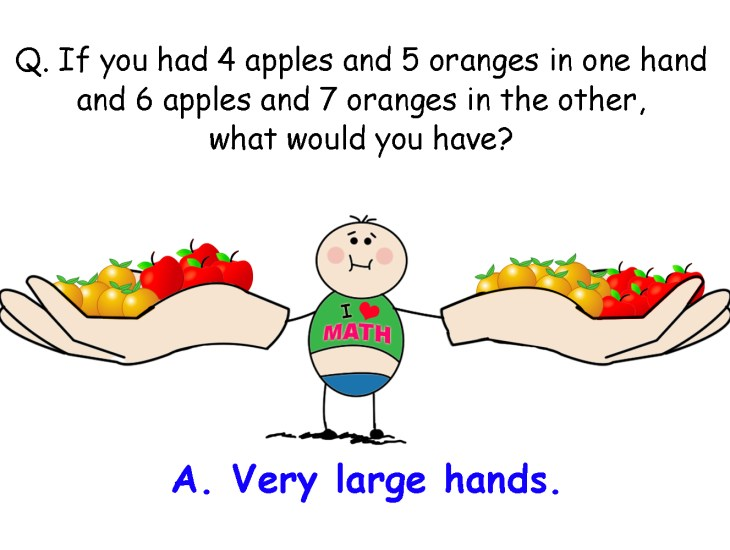 If you had 4 apples and 5 oranges in one hand and 6 apples and 7 oranges in the other, what would you have