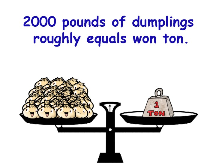 2000 pounds of dumplings roughly equals won ton.