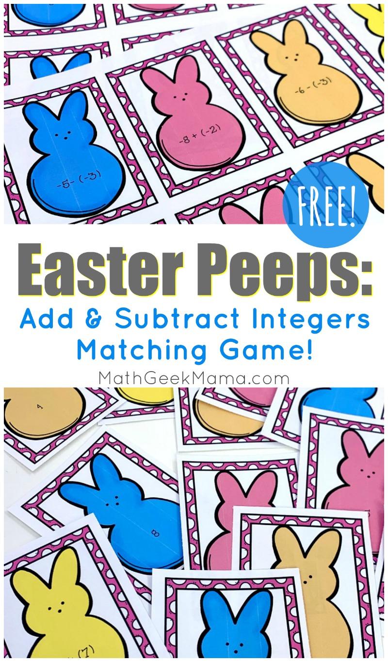 medium resolution of Easter Peeps: Add \u0026 Subtract Integers Game {FREE}   Math Geek Mama