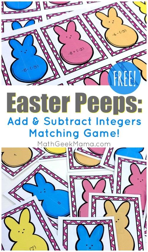 small resolution of Easter Peeps: Add \u0026 Subtract Integers Game {FREE}   Math Geek Mama
