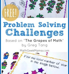 FREE Problem Solving Challenges Based on \The Grapes of Math\ [ 1390 x 800 Pixel ]