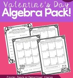 Valentine's Day Algebra Practice Pack! {FREE!} [ 1073 x 800 Pixel ]