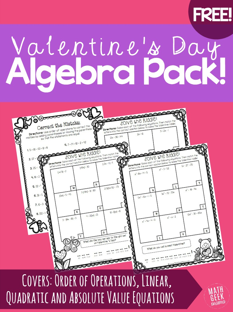 hight resolution of Valentine's Day Algebra Practice Pack! {FREE!}