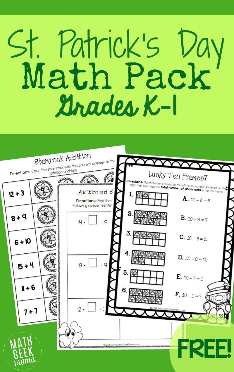 medium resolution of St. Patrick's Day Math Pack {K-1}