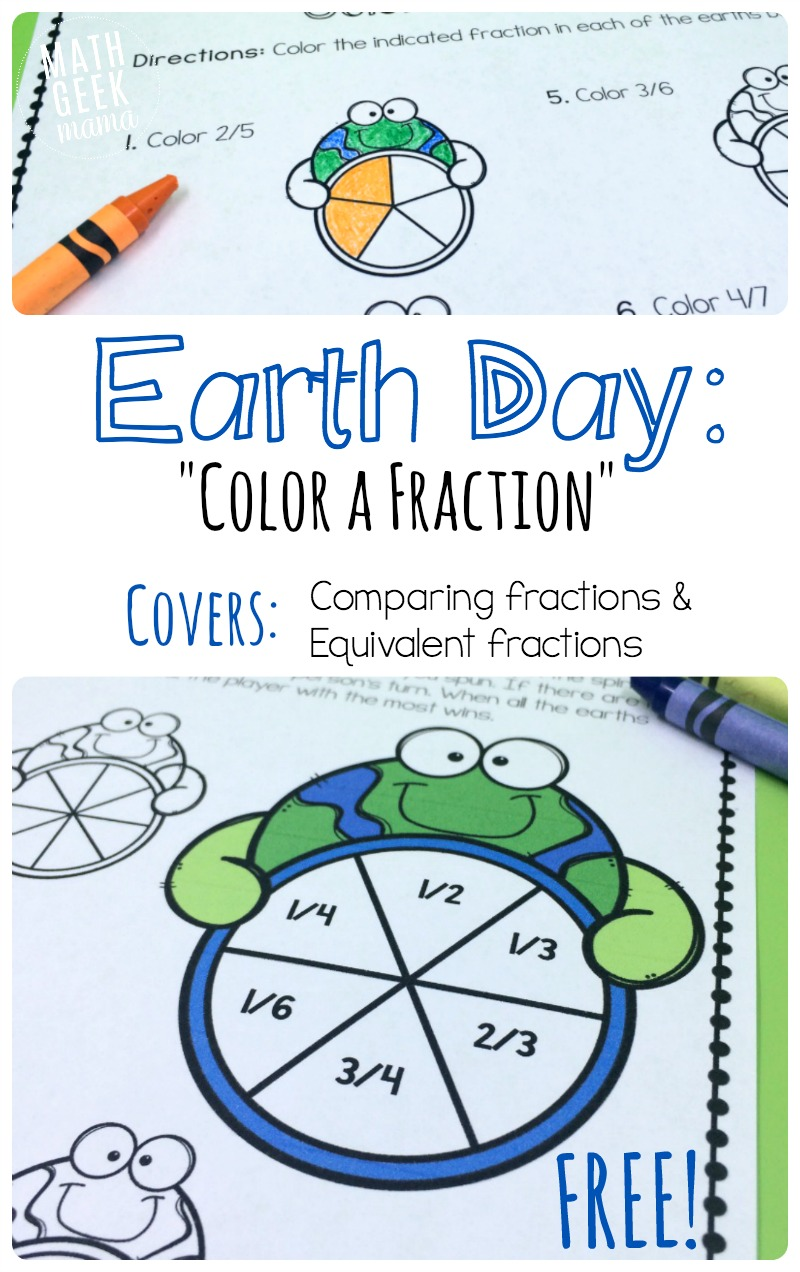 hight resolution of Earth Day Fraction Math Pack