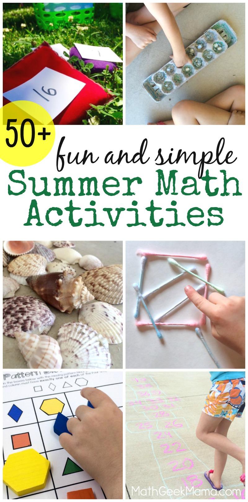 medium resolution of Fun and Simple Summer Math Activities