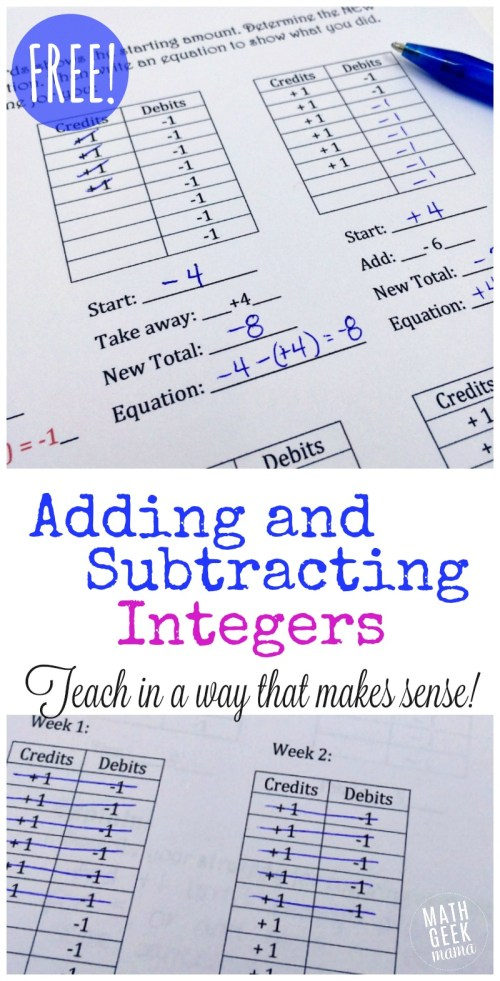 small resolution of FREE Adding and Subtracting Integers Lesson