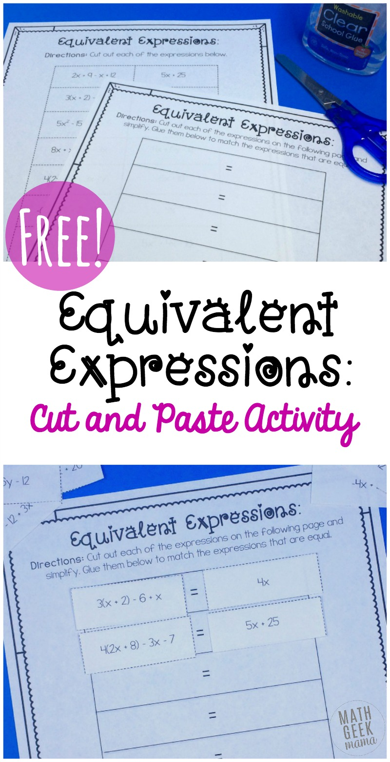 hight resolution of Simple Equivalent Expressions Activity {FREE}