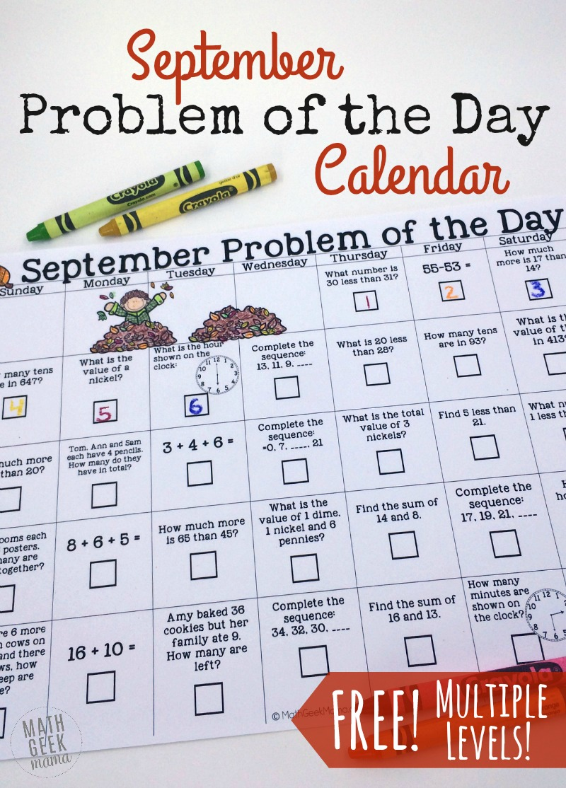 medium resolution of September Problem of the Day Calendar for math review {FREE}