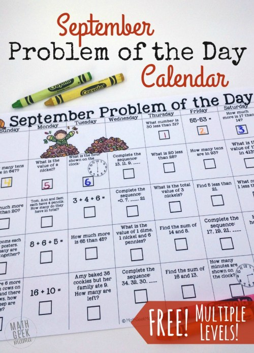 small resolution of September Problem of the Day Calendar for math review {FREE}