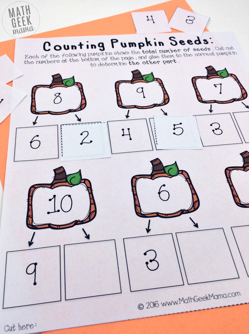hight resolution of Pumpkin Number Bonds to Ten Cut and Paste {FREE}