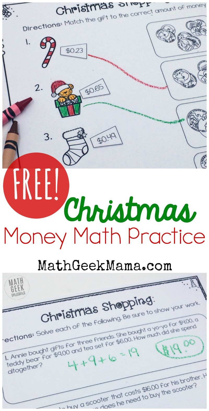 medium resolution of Christmas Shopping: Money Math Worksheets {FREE}