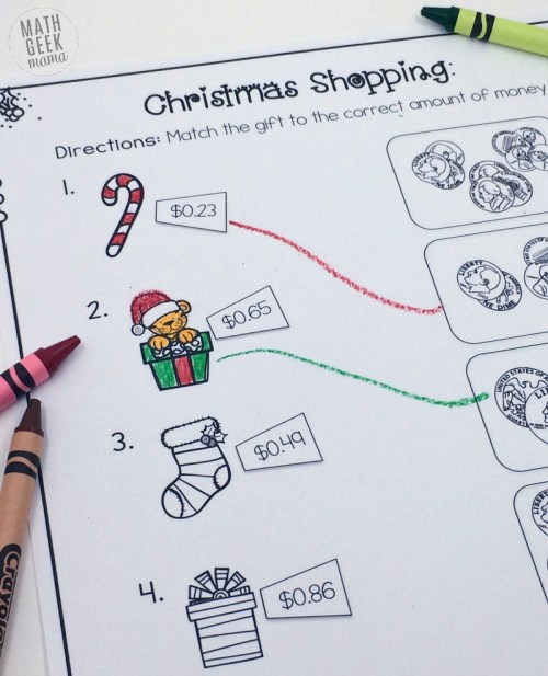 small resolution of Christmas Shopping: Money Math Worksheets {FREE}