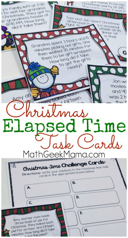 small resolution of Christmas Themed Elapsed Time Practice {FREE}