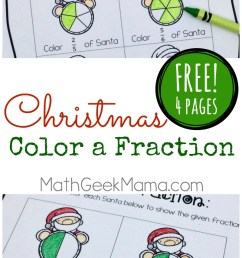 Christmas Fraction Worksheets for 3-5 Grade {FREE} [ 1391 x 800 Pixel ]