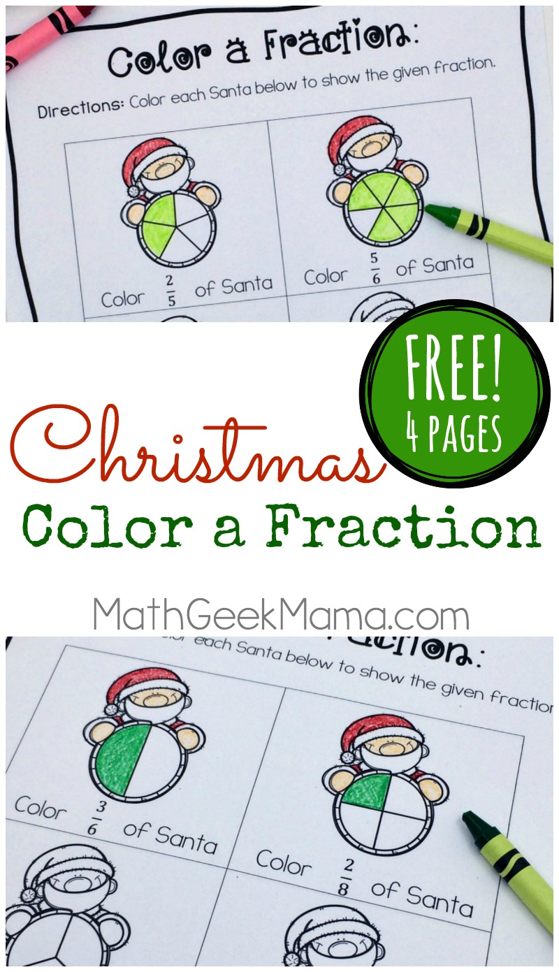 hight resolution of Christmas Fraction Worksheets for 3-5 Grade {FREE}