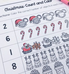 Christmas Count and Color: Free Christmas Counting Worksheets [ 1046 x 800 Pixel ]
