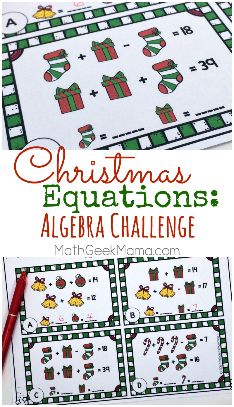 hight resolution of Christmas Equations Worksheet: Unique Math Challenge {FREE}