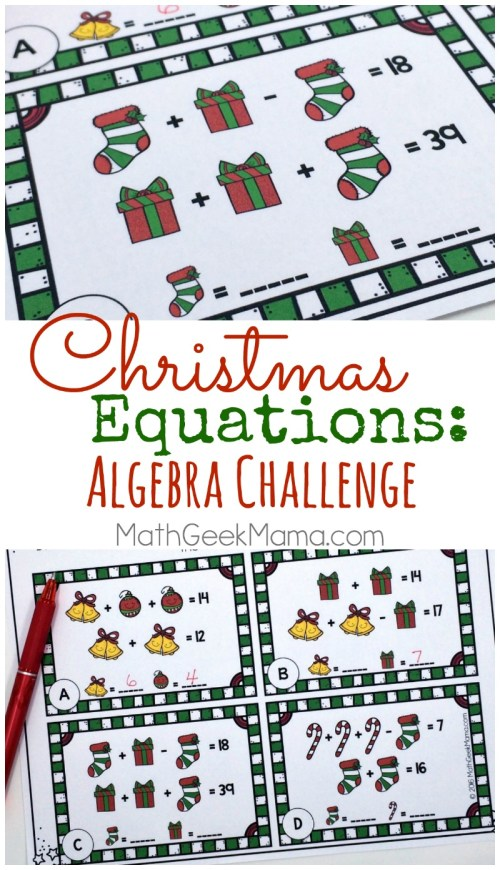 small resolution of Christmas Equations Worksheet: Unique Math Challenge {FREE}