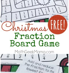 Christmas Themed Printable Fraction Game {FREE} [ 1471 x 800 Pixel ]