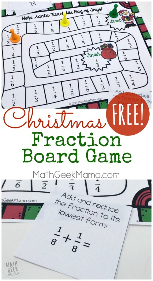 small resolution of Christmas Themed Printable Fraction Game {FREE}
