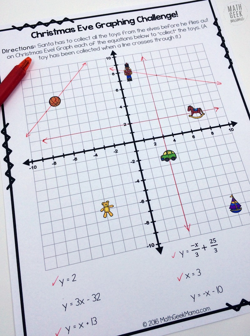 hight resolution of Christmas Challenge: Graphing Linear Equations Practice {FREE}