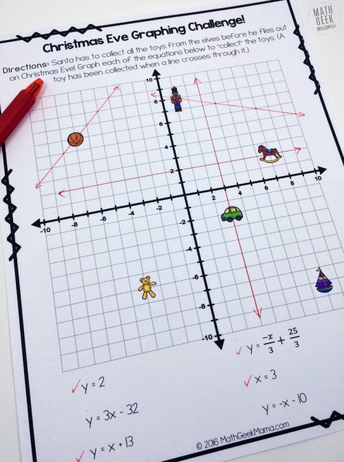 small resolution of Christmas Challenge: Graphing Linear Equations Practice {FREE}