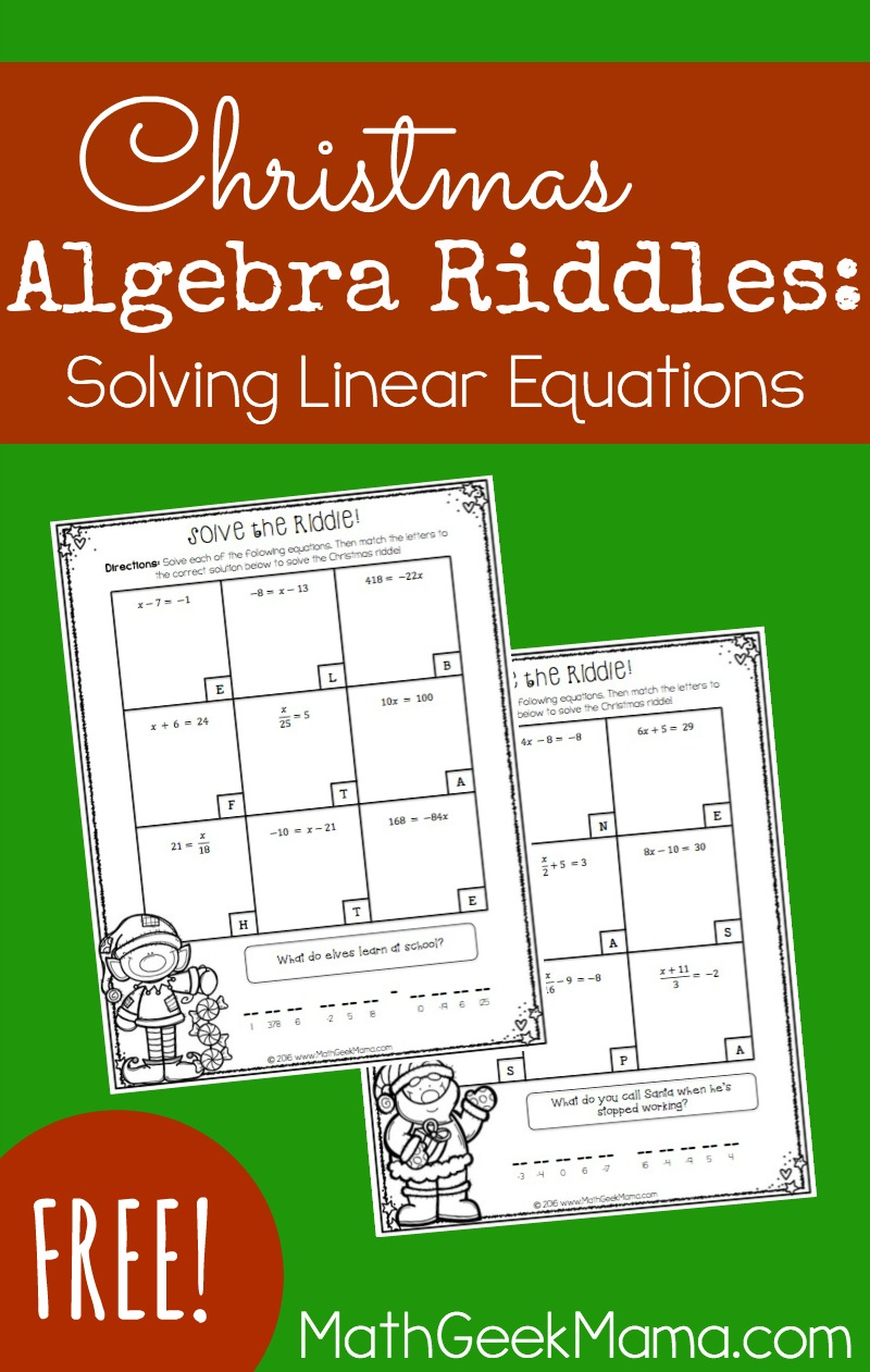 hight resolution of Solving Linear Equations Activity Pages-Christmas Theme {FREE}