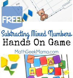 Subtracting Mixed Numbers Game-Hands On Math {FREE} [ 1382 x 800 Pixel ]