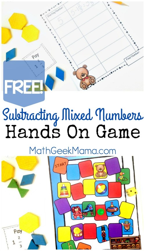 small resolution of Subtracting Mixed Numbers Game-Hands On Math {FREE}