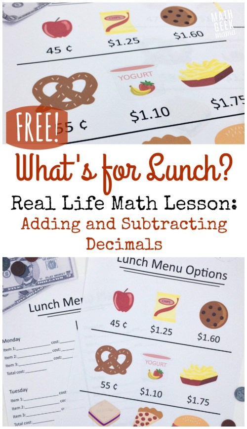 small resolution of Real Life Adding and Subtracting Decimals Lesson {FREE}