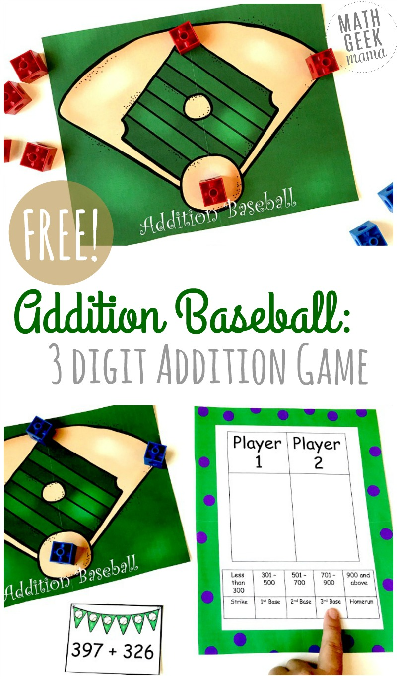 hight resolution of FREE} Baseball Addition: 3-Digit Addition Game