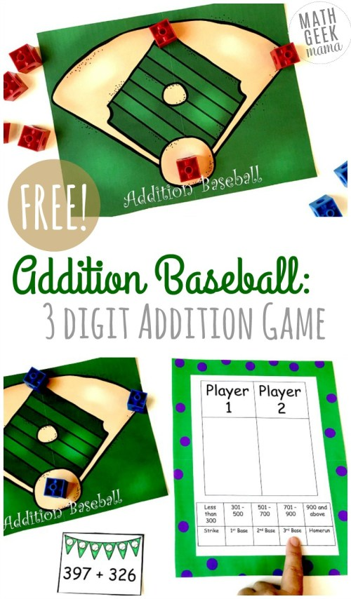 small resolution of FREE} Baseball Addition: 3-Digit Addition Game