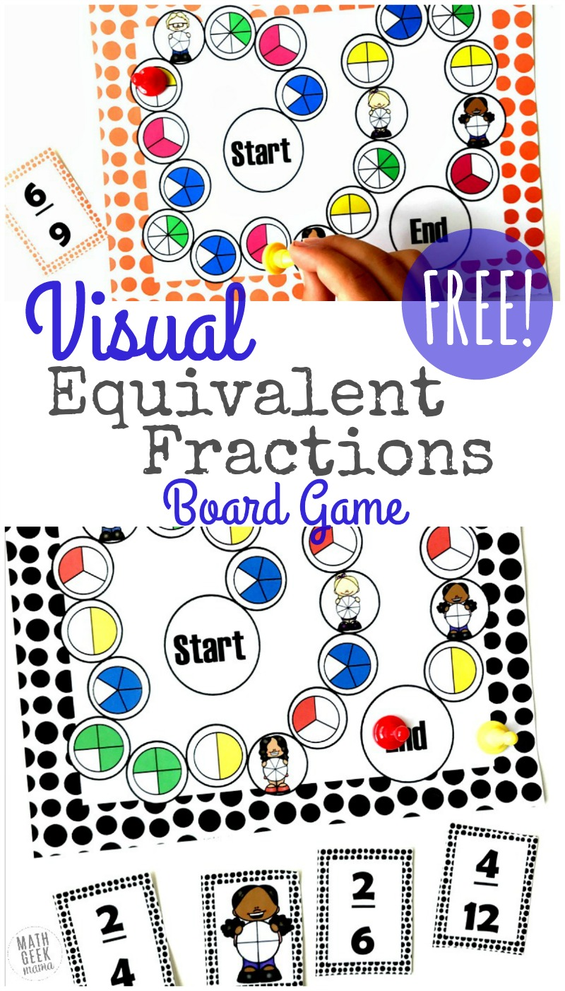 medium resolution of Visual Equivalent Fractions Game Printable {FREE}