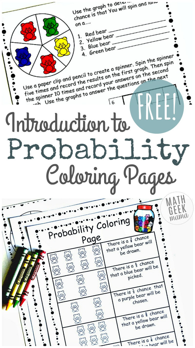 hight resolution of Simple Coloring Probability Worksheets for Grades 4-6 {FREE}