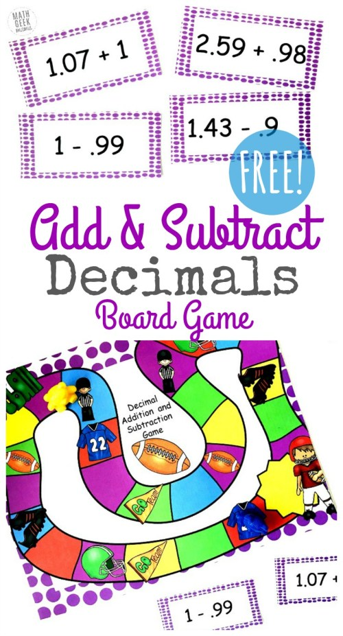 small resolution of FREE} Adding \u0026 Subtracting Decimals Game for Grades 4-6