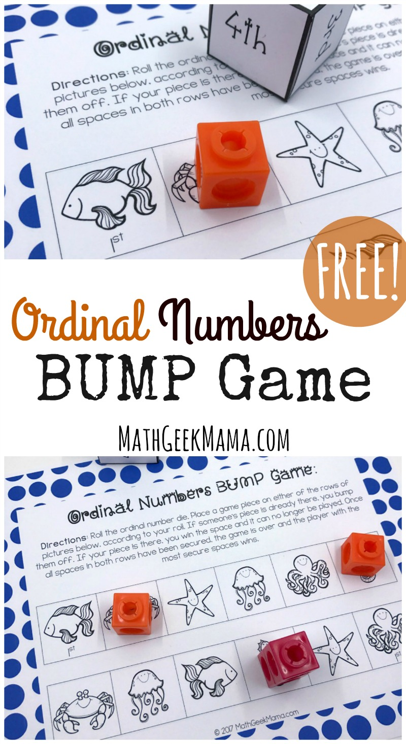 hight resolution of FREE} Ordinal Numbers Game for Kindergarten-First Grade