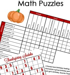 FREE} Fun Thanksgiving Math Puzzles for Older Kids [ 1618 x 800 Pixel ]