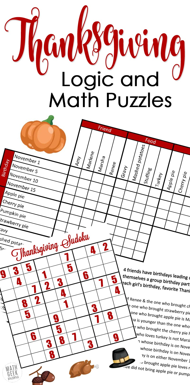 medium resolution of FREE} Fun Thanksgiving Math Puzzles for Older Kids