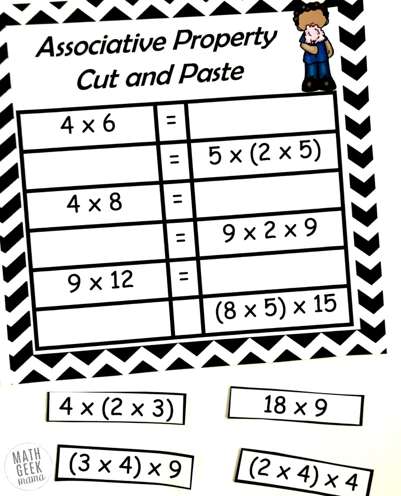 {FREE} Properties of Multiplication Cut & Paste Practice