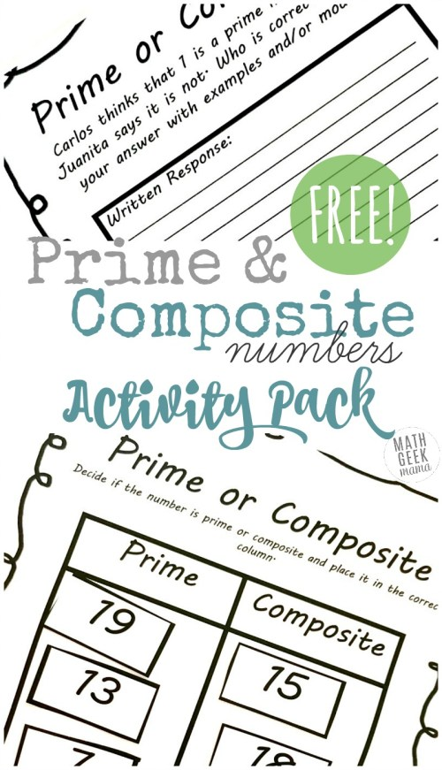 small resolution of Prime and Composite Numbers Worksheets: {FREE} Activity Pack