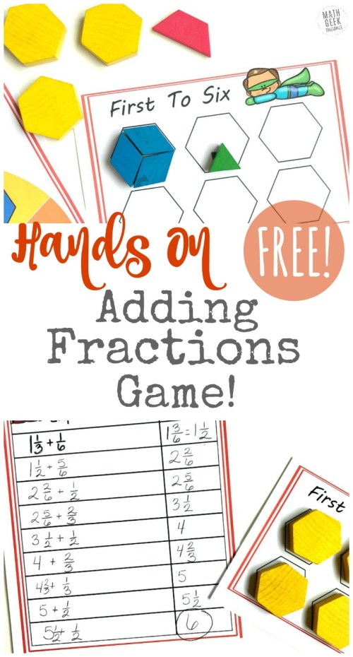 small resolution of FREE} Hands On Adding Fractions Game for Kids