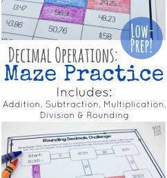 Low Prep Decimal Operations Mazes for Grades 4-6 [ 1387 x 800 Pixel ]